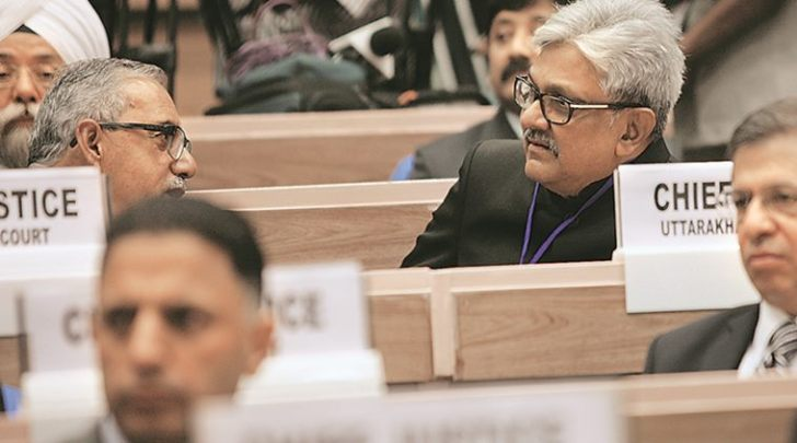 K. M. Joseph Chief Justice of Uttarakhand High Court during the inauguration of Joint Conference of Chief Ministers and Chief Justices at Vigyan Bhavan in New Delhi on Sunday. Pic. By- Neeraj Priyadarshi.240416