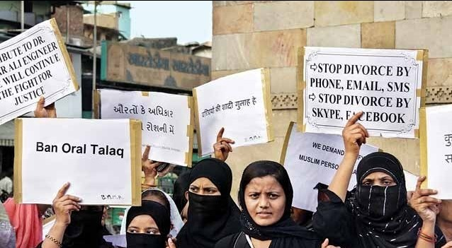 Women protesting against triple-talaq