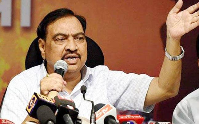 Eknath Khadse, Former Revenue Minister of Maharashtra during the press conference