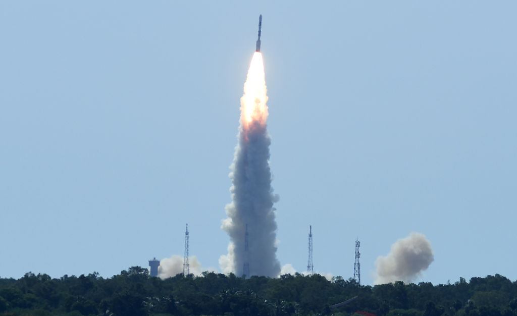Indian Space Research Organisation's (ISRO) satellite CARTOSAT-2, along with 20 other satellites from the US, Canada, Germany and Indonesia on board the Polar Satellite Launch Vehicle (PSLV-C34), is launched from Sriharikota in the southern state of Andhra Pradesh on June 22, 2016. / AFP / ARUN SANKAR        (Photo credit should read ARUN SANKAR/AFP/Getty Images)