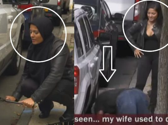 hijab women not get any person to change tire