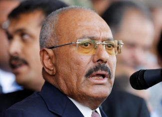 yemen's former president ali abdullah saleh addresses rally held to mark the 35th anniversary of the establishment of his general people's congress party in sanaa